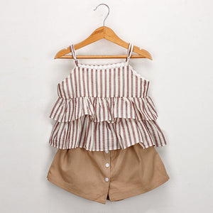 Stripe Ruffles Shirt+Shorts Set