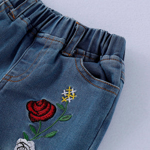 Floral Embroidery Denim Set