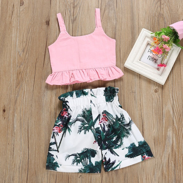 Pink Summer Tank Top W/Casual Floral Shorts Set