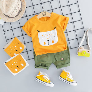 Cute Cartoon Shirt  W/Solid Shorts Set