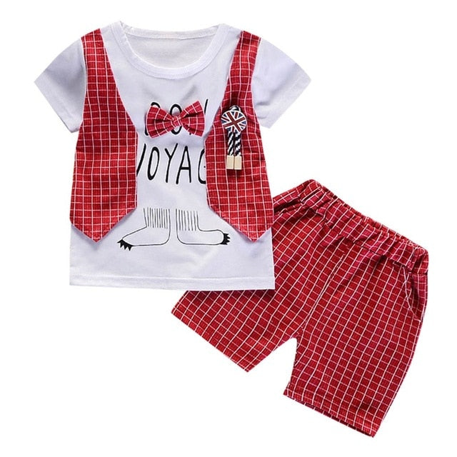 Gentleman Bow Vest T-shirt W/Shorts Set