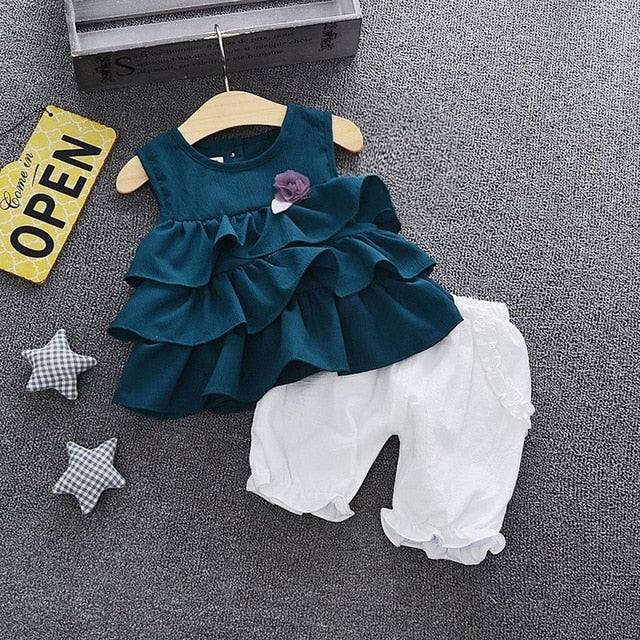 Ruffles Tops W/Flower + Solid Ruched Shorts Set