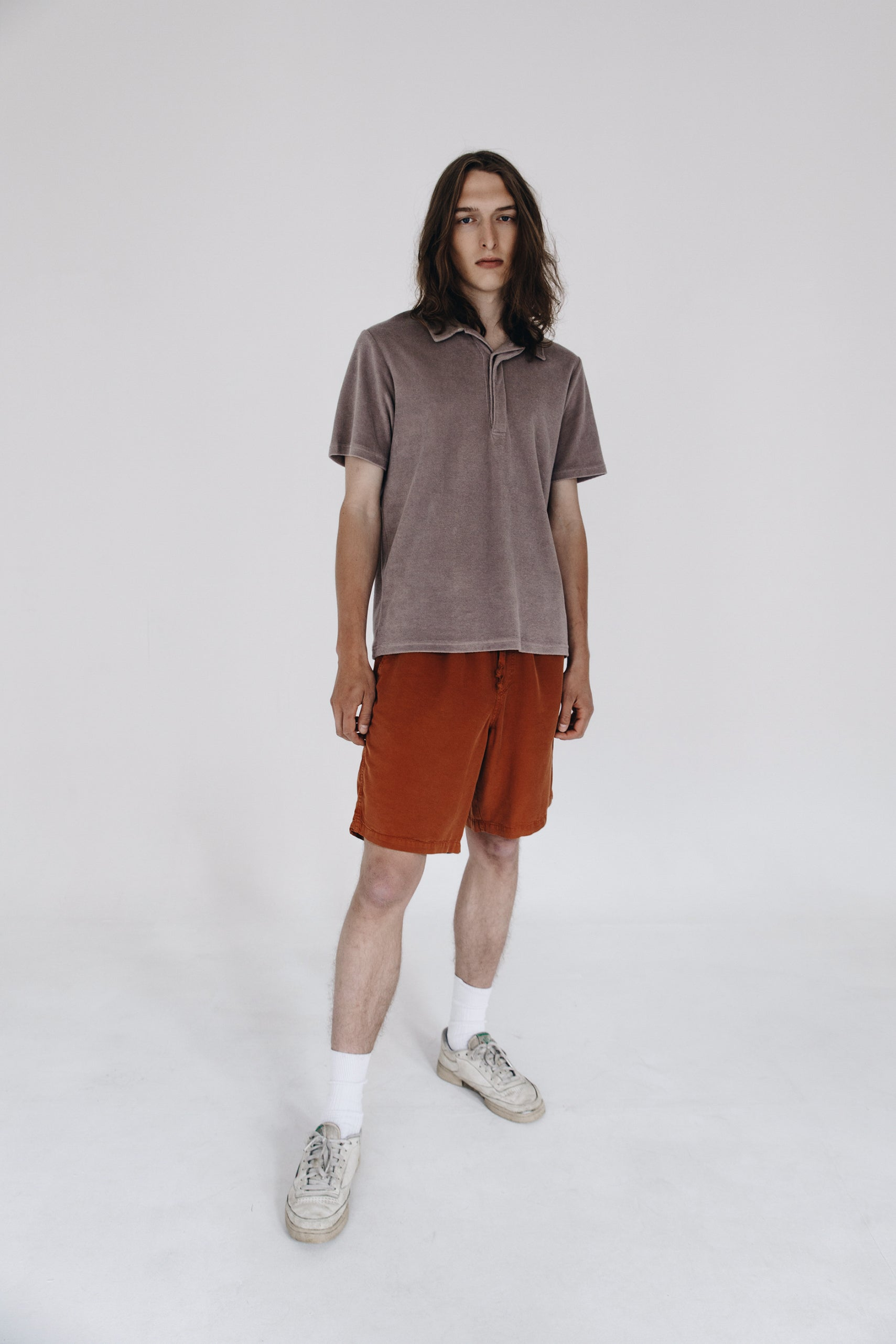 Relaxed terry polo shirt