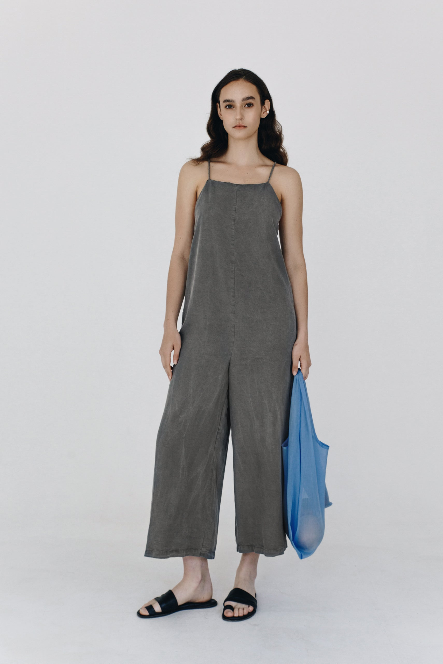 Washed grey lyocell jumpsuit