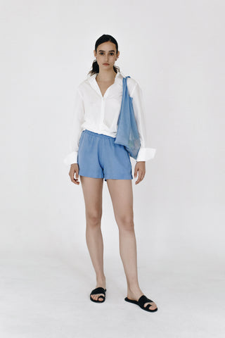 Blue fluid lyocell shorts