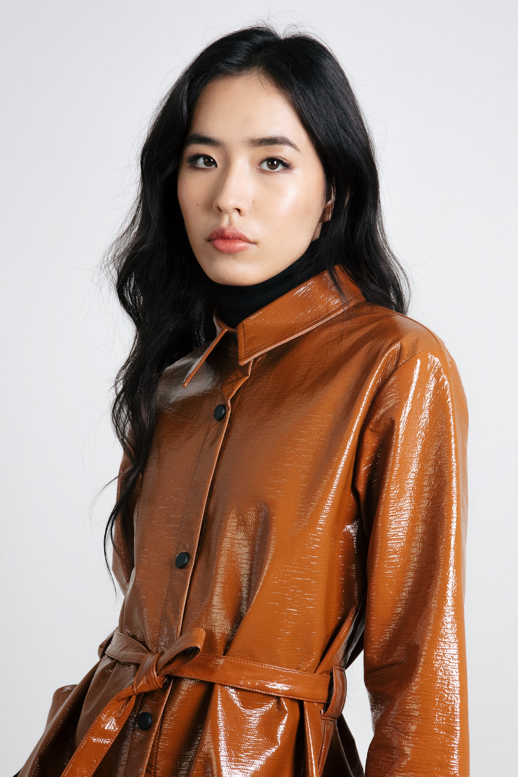 Brown patent shirt dress