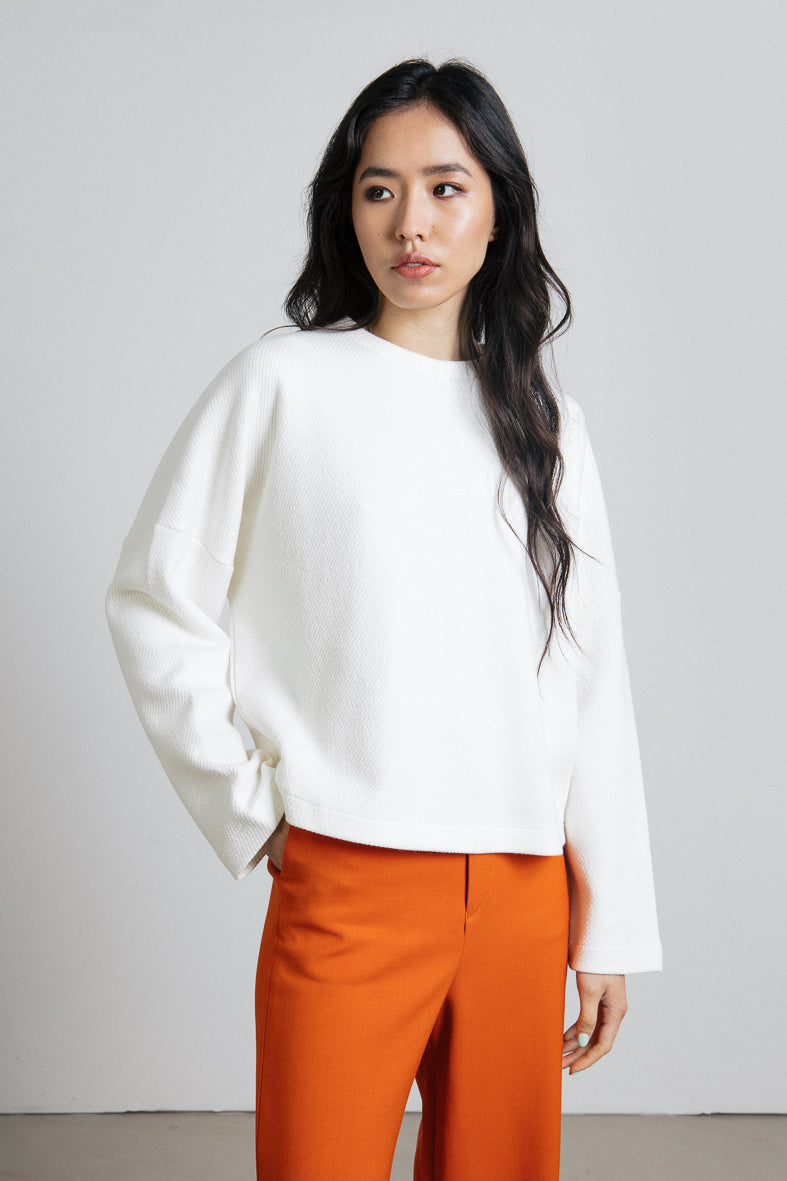 White cotton wool blend structured sweatshirt