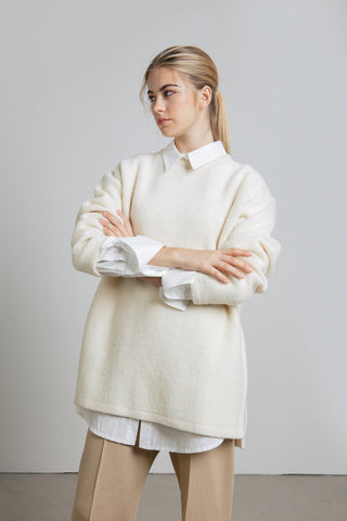 Offwhite wool blend oversized jumper