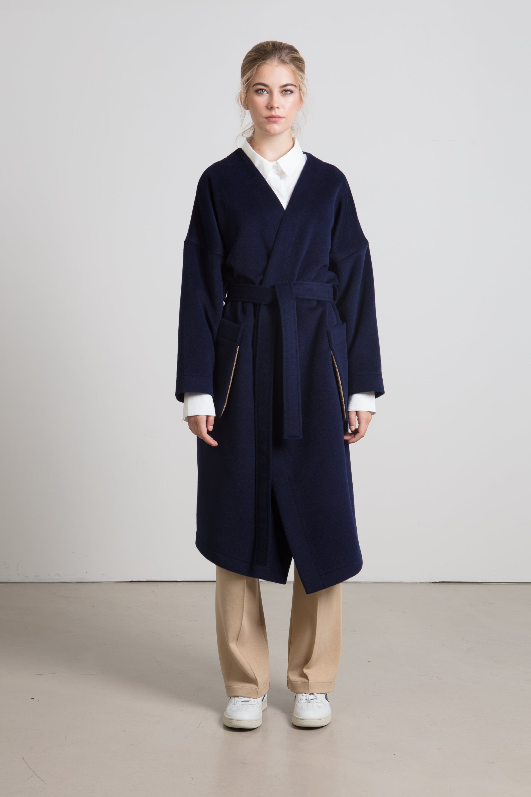 Navy cashmere wrap coat