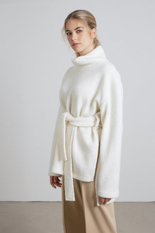 White wool belted pullover