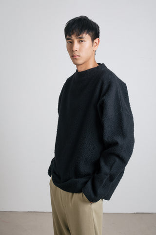 Black Wool Jersey Crewneck