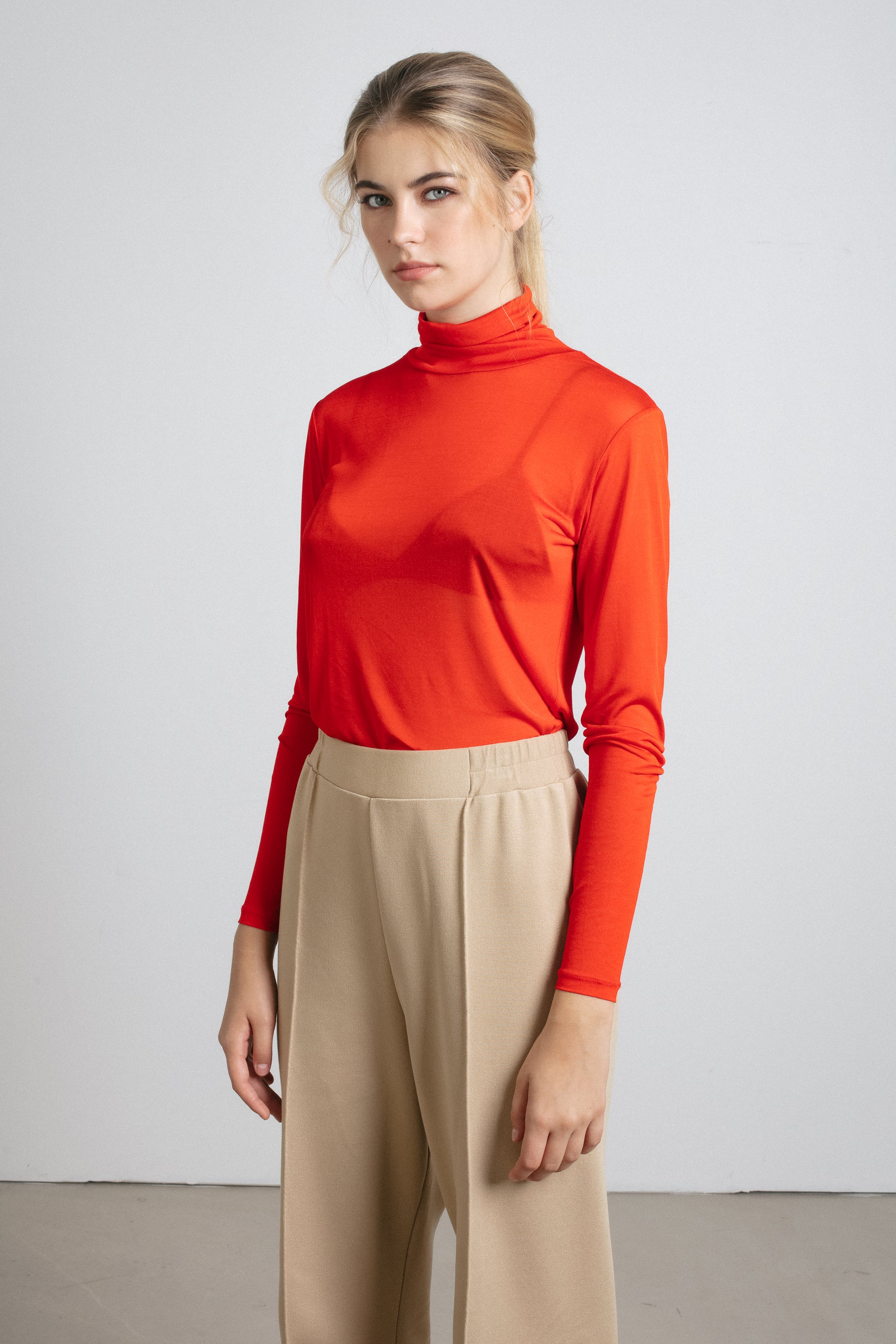 Red sheer turtleneck