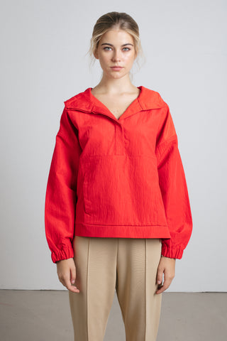 Red sporty anorak