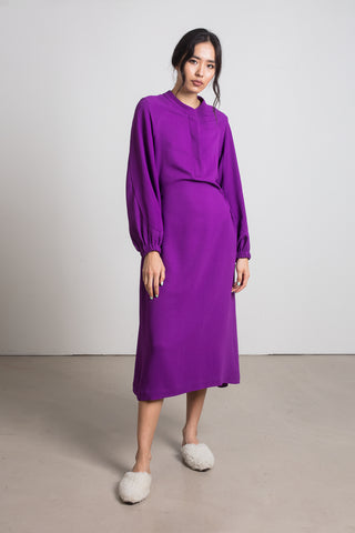 Purple fluid raglan dress