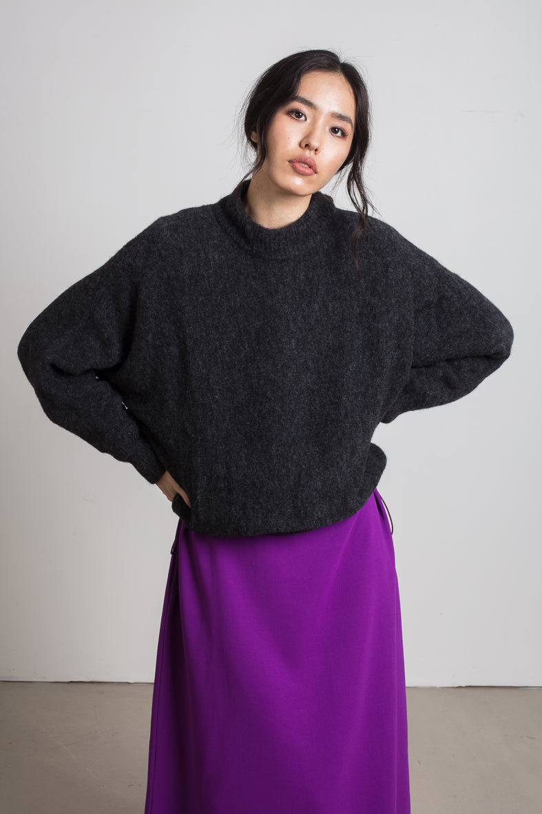 Dark grey alpaca wool blend jumper