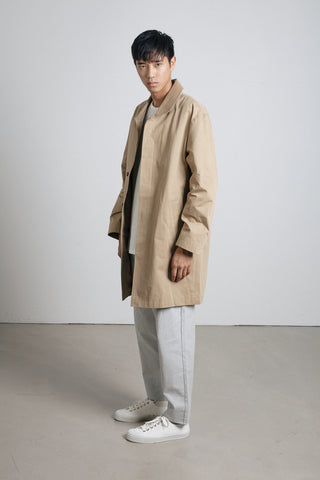 Sand Japanese cotton mac coat