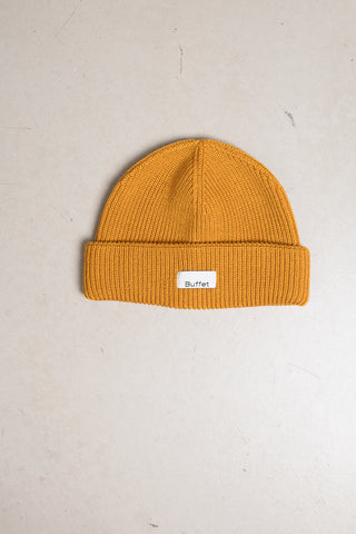 Mustard yellow merino wool hat