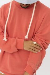 Poppy red sweatshirt with side zipper