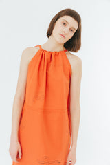 Orange snake print simple drawstring dress