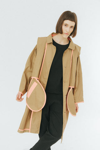 Camel oversized coat with contrast binging