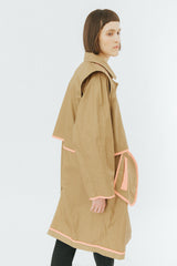Camel oversized coat with contrast binding