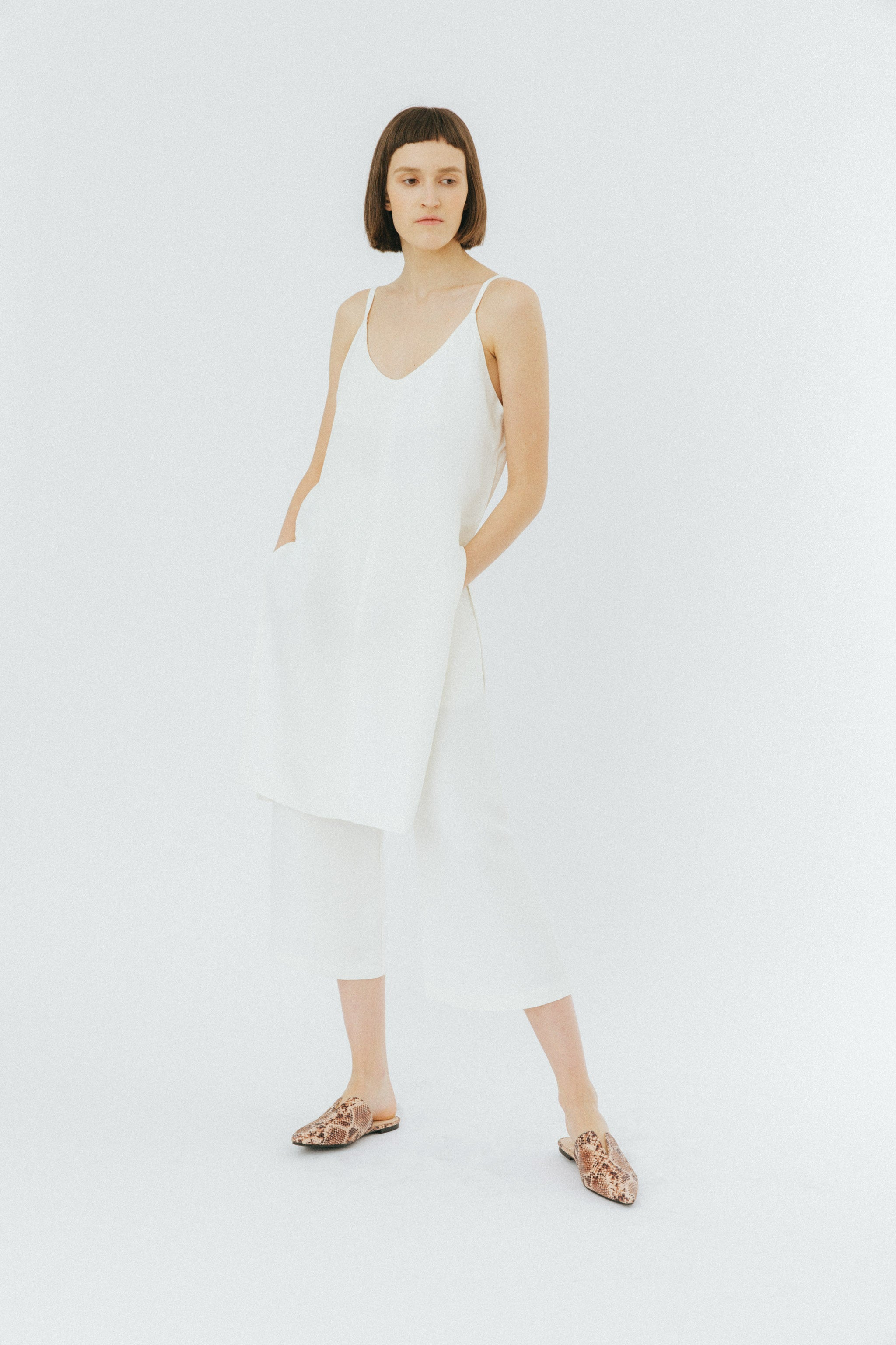 White tailored culottes