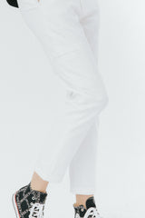 White slim tailored pants