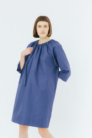 Dark blue loose drawstring dress