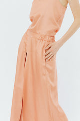 Pink satin wide pants