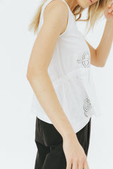 White snake print gathered silk tank top