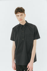 Black poplin polo shirt
