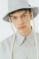 Grey snake print panama bucket hat