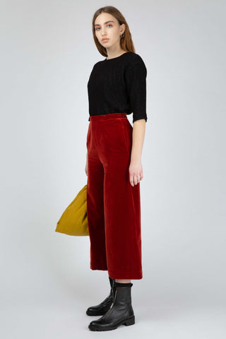 Red velvet culottes
