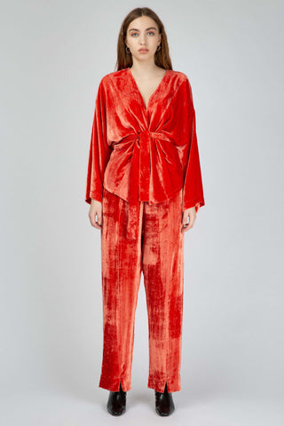 Orange silky velvet loose pants