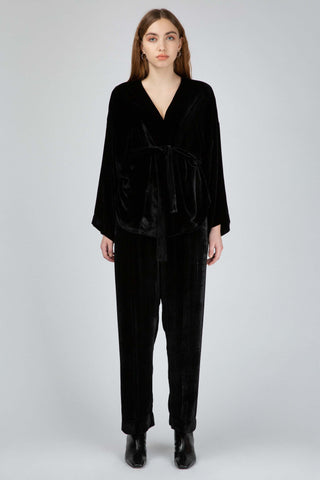 Black silky velvet loose pants
