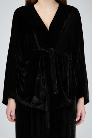 Black silky velvet wrap top