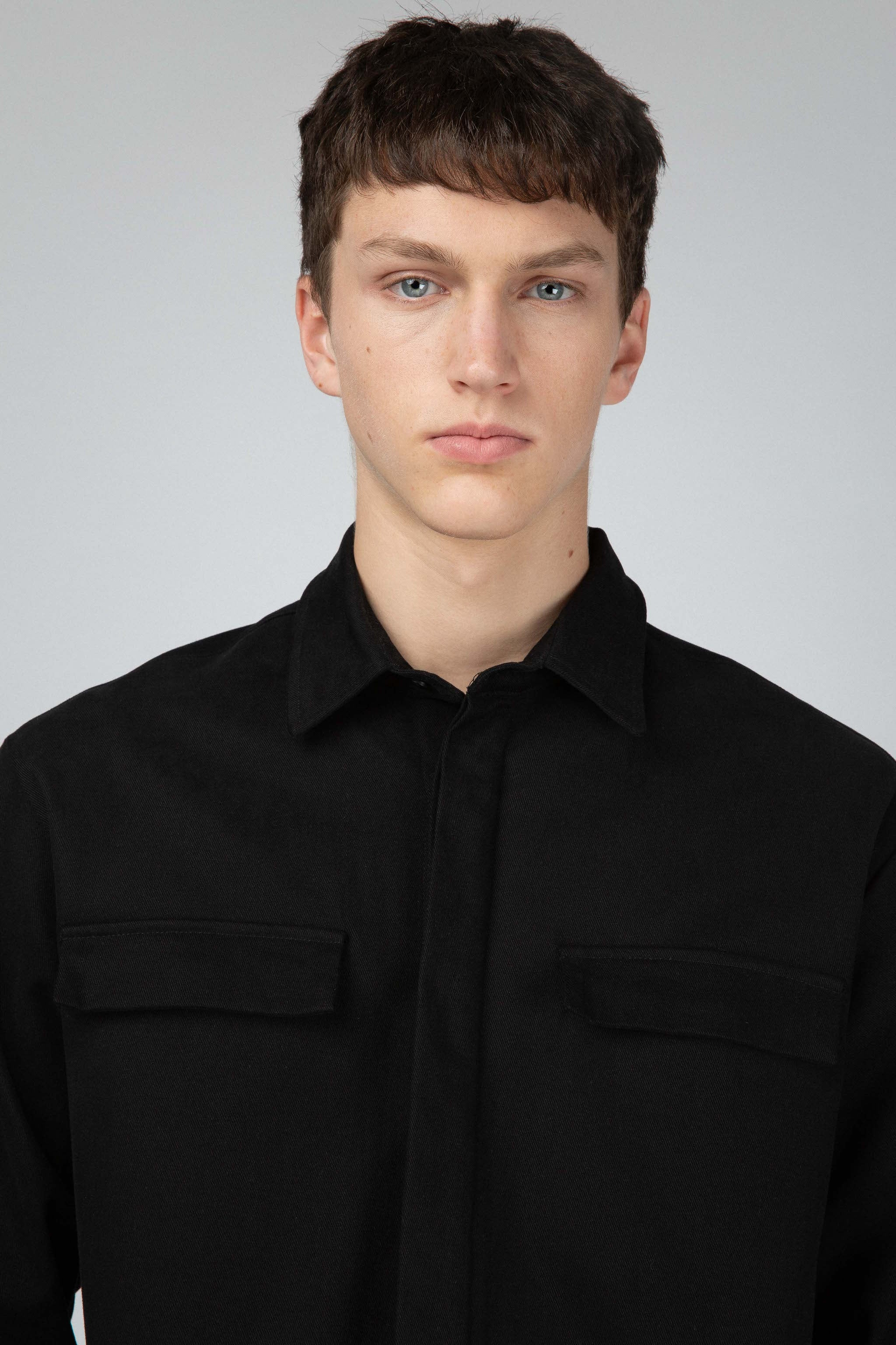 Black cotton twill overshirt