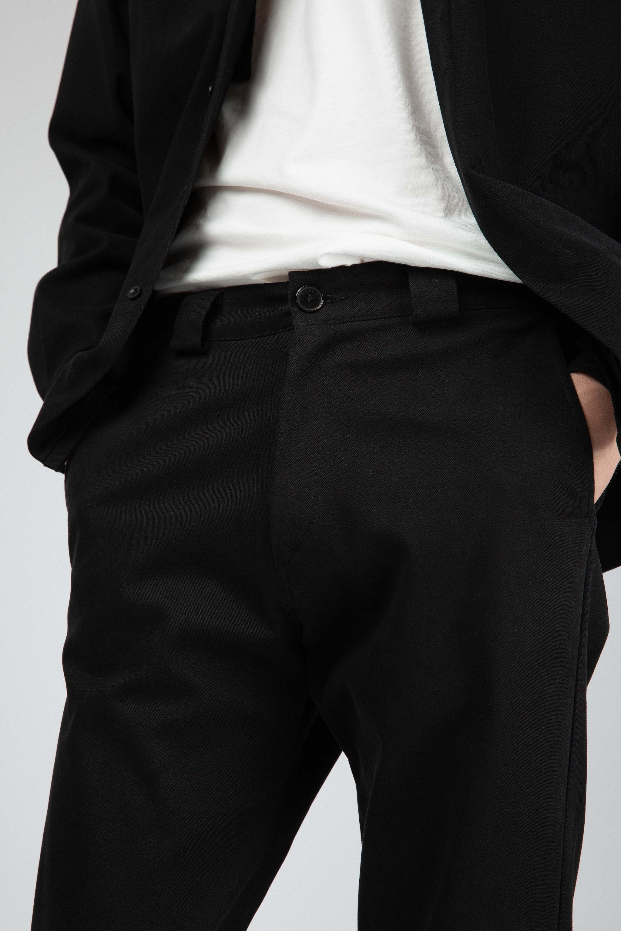 Black cotton twill pants