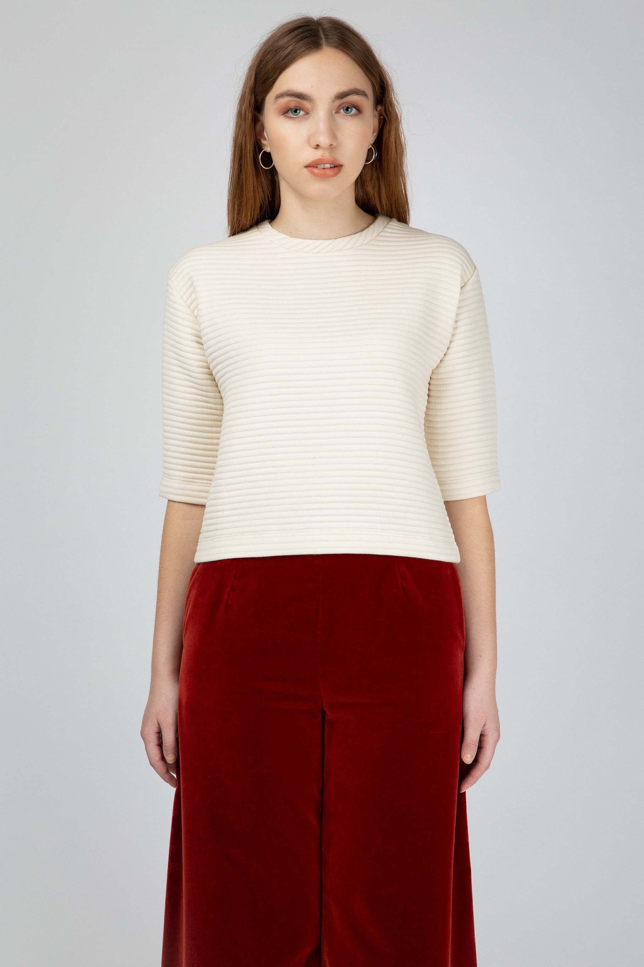 White wool blend structured tee