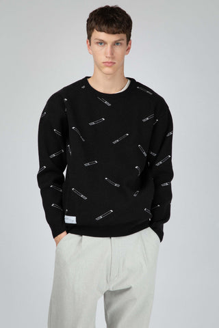 Wool jumper with cigarette pattern