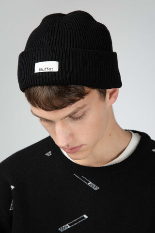 Black merino wool hat