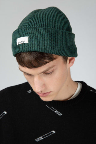 Green merino wool hat