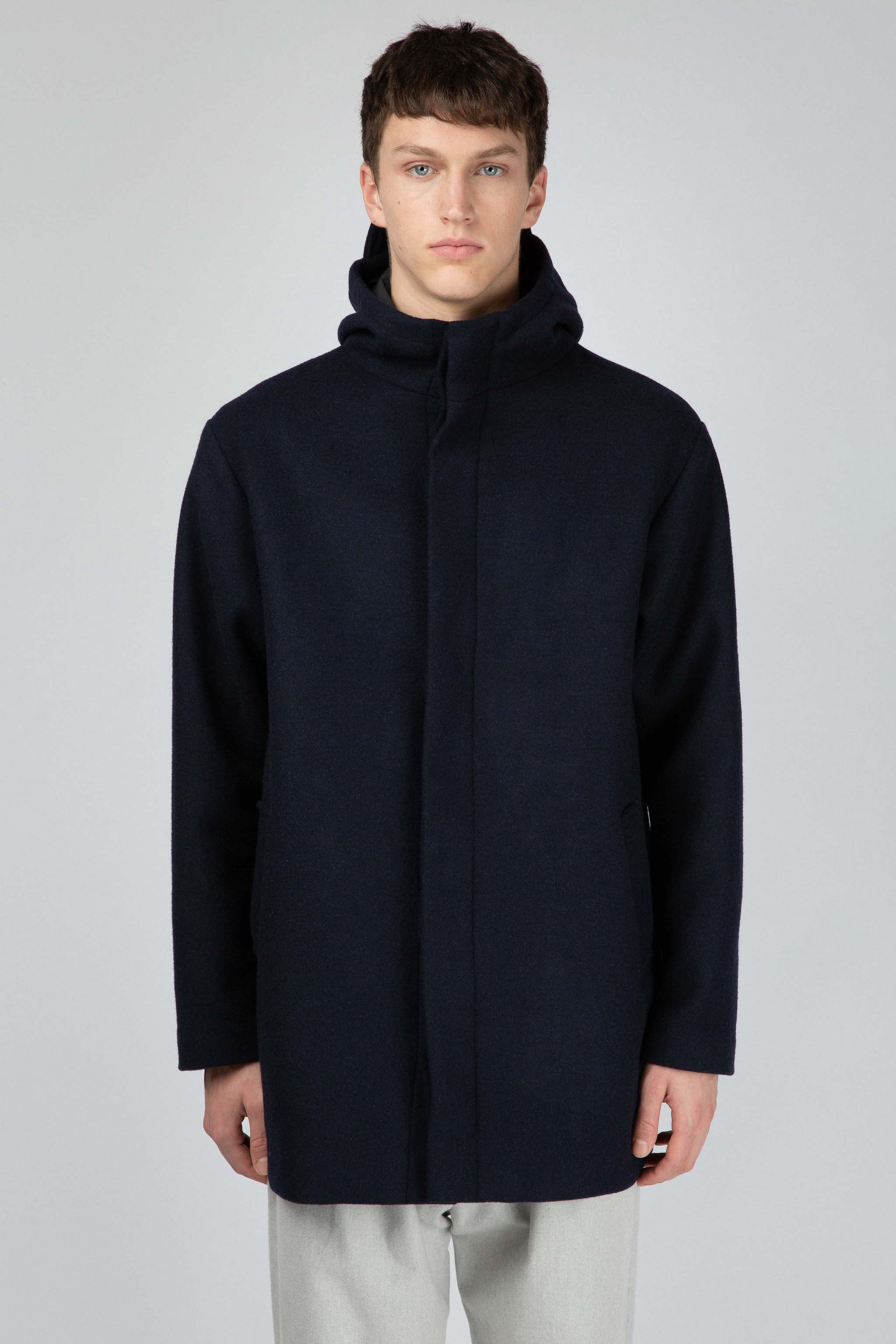 Dark blue wool parka