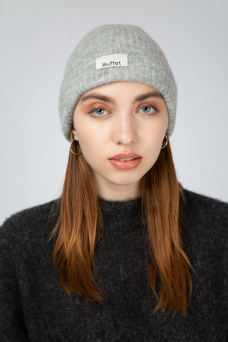 Light grey alpaca blend hat