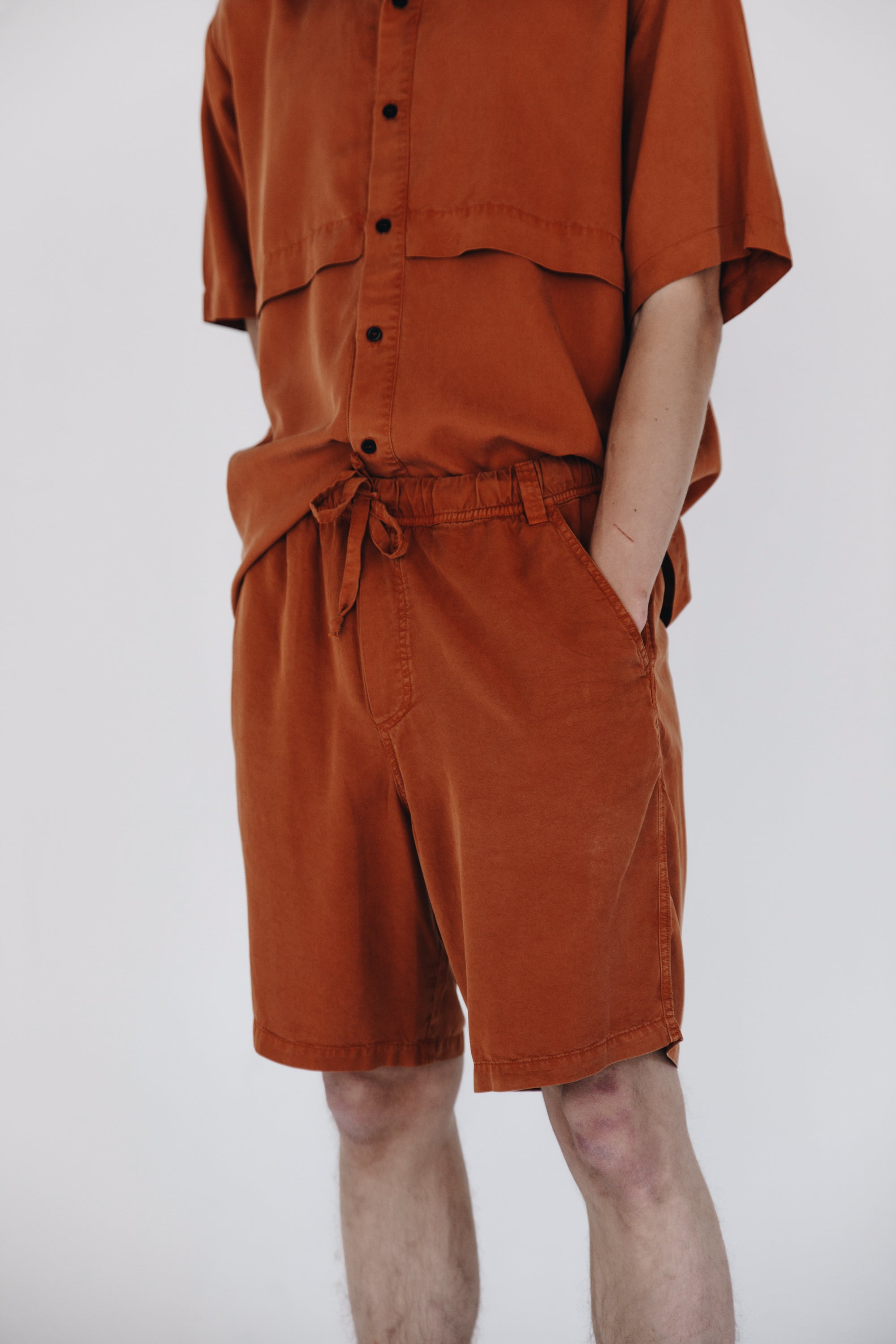 Burnt orange fluid lyocell shorts