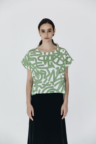 Simple lyocell top in custom print