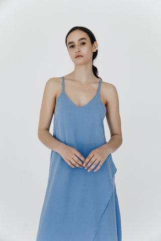 Blue asymmetrical lyocell strap dress