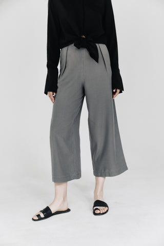 Washed grey lyocell tailored culottes