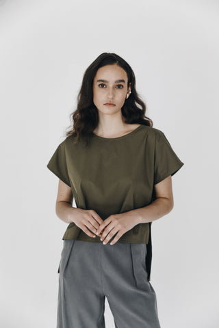 Army green simple cotton top