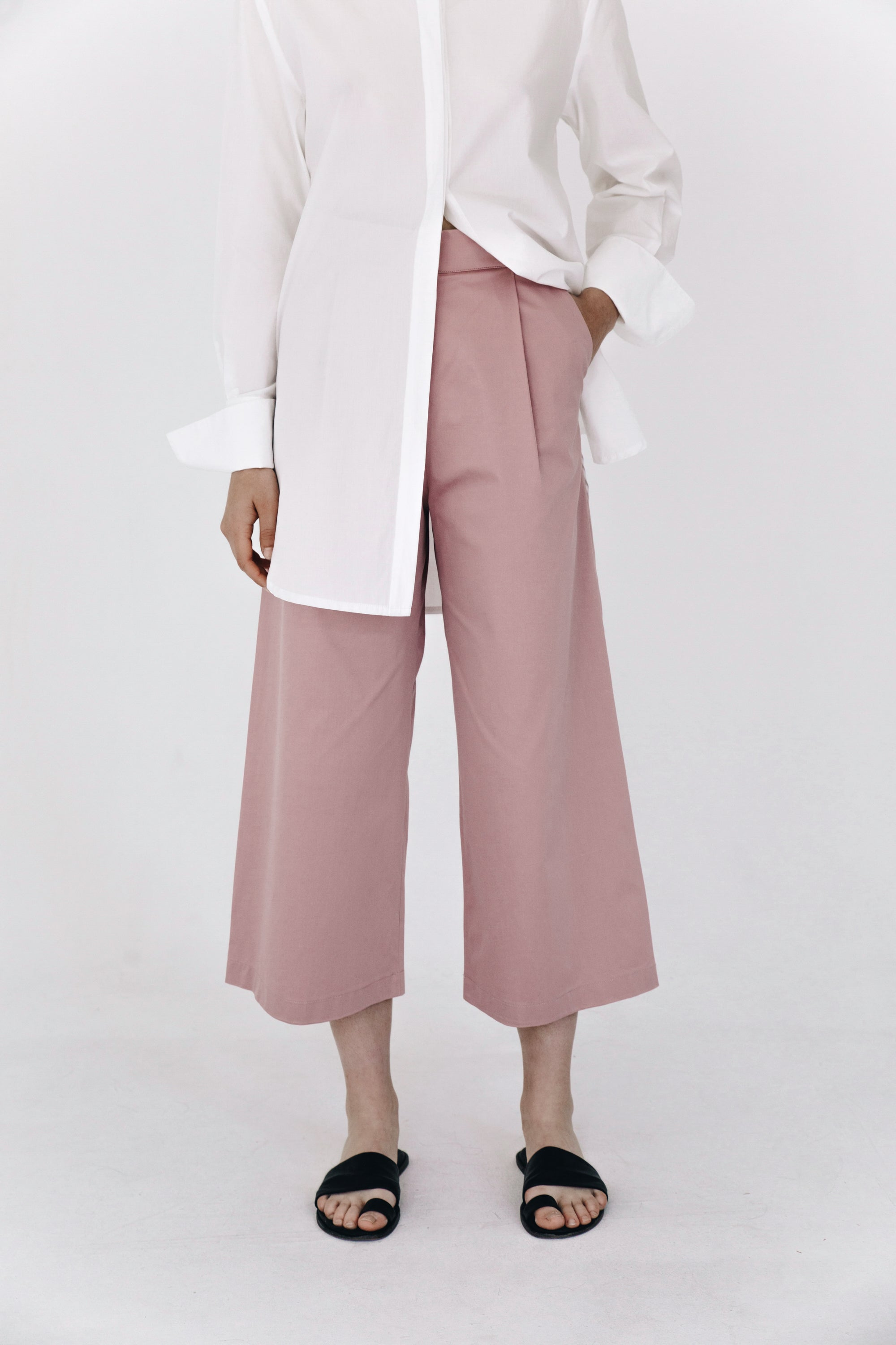 Pink tailored culottes